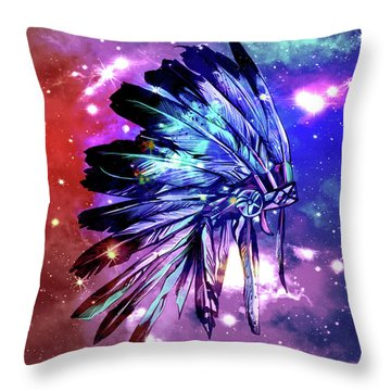 Native Headdress Space Throw Pillow