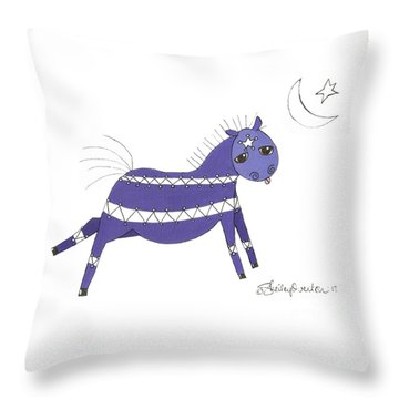 Native Horsey Throw Pillow by Shelley Overton