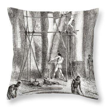 Native Indians Building A Canoe Throw Pillow