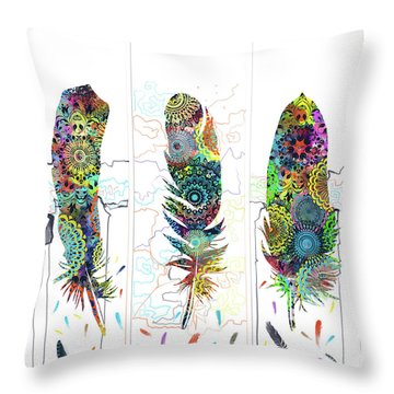 Native Mandala Feathers 4 Throw Pillow