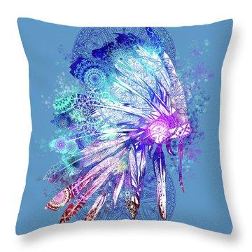 Native Mandala Headdress 2 Throw Pillow