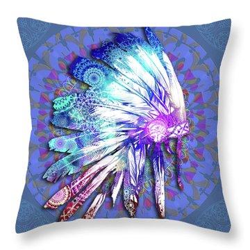 Native Mandala Headdress Throw Pillow