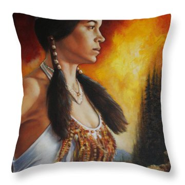 Throw Pillow featuring the painting Native Pride by Harvie Brown