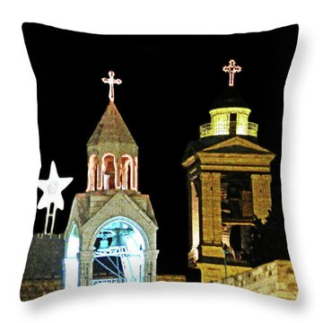 Nativity Church Lights Throw Pillow