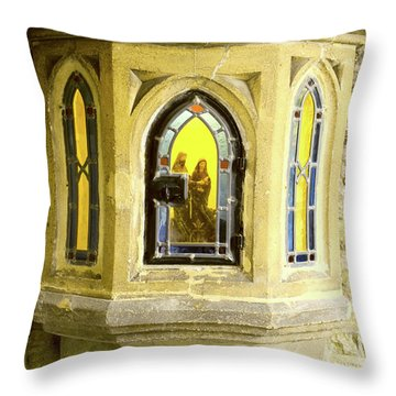 Nativity In Ancient Stone Wall Throw Pillow