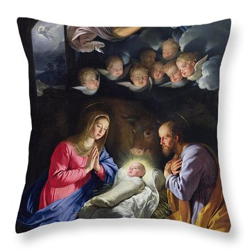 Nativity Throw Pillow by Philippe de Champaigne