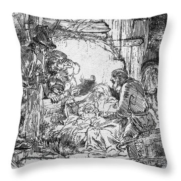 Nativity Throw Pillow by Rembrandt