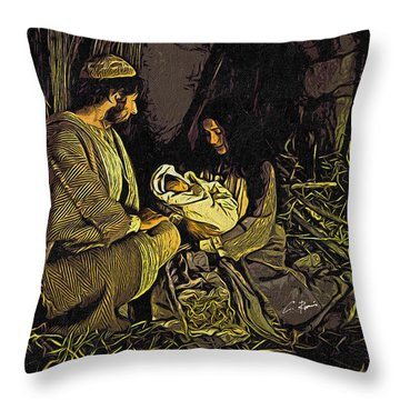 Throw Pillow featuring the mixed media Nativity Scene by Charlie Roman