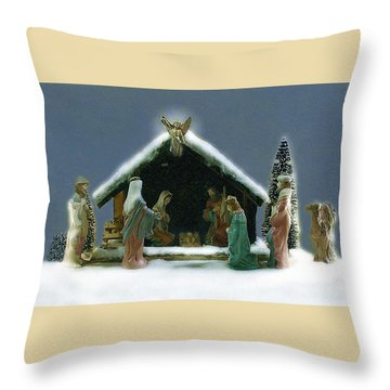 Throw Pillow featuring the photograph Nativity Scene by Ellen O'Reilly