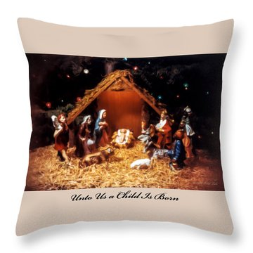 Nativity Scene Greeting Card Throw Pillow