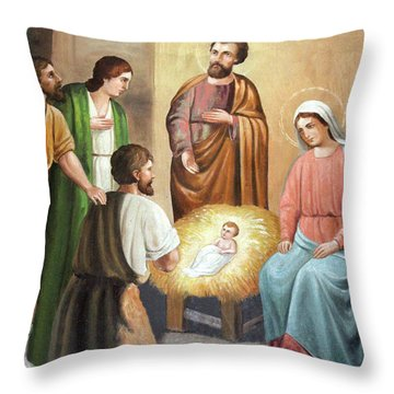 Nativity Scene Painting At Nativity Church Throw Pillow by Munir Alawi