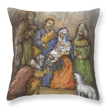 Nativity Throw Pillow by Walter Lynn Mosley