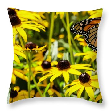 Monarch Butterfly On Yellow Flowers Throw Pillow