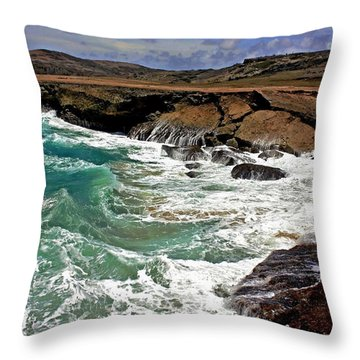 Throw Pillow featuring the photograph Natural Bridge Aruba by Suzanne Stout