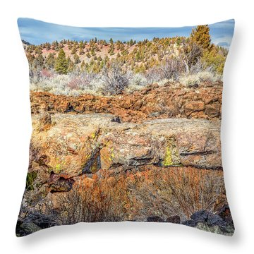 Natural Bridge At Lava Beds Throw Pillow