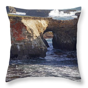 Natural Bridge At Point Arena Throw Pillow