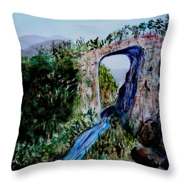 Natural Bridge In Virginia Throw Pillow by Donna Walsh