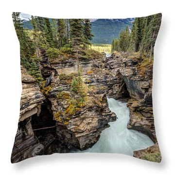 Natural Flow Of Athabasca Falls Throw Pillow