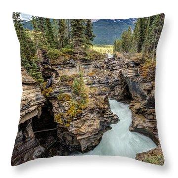 Natural Flow Of Athabasca Falls Throw Pillow