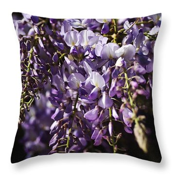 Natural Wisteria Bouquet Throw Pillow