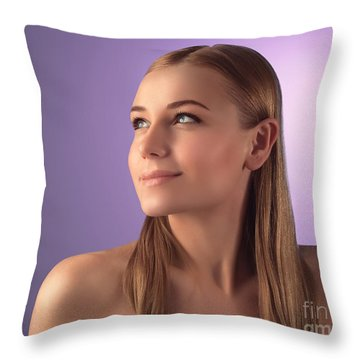Natural Woman Portrait Throw Pillow
