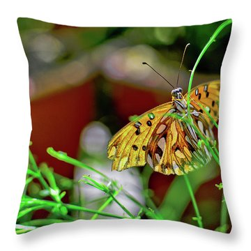 Nature - Butterfly And Plants Throw Pillow
