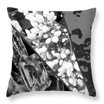 Nature Collage In Black And White Throw Pillow