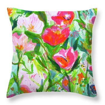 Throw Pillow featuring the painting Nature Dance by Beth Saffer