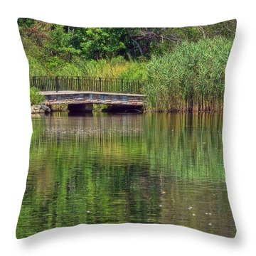 Nature In Green Throw Pillow by Mikki Cucuzzo
