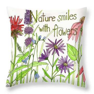 Nature Smile With Flowers Throw Pillow