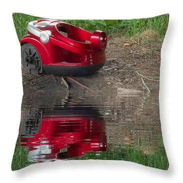 Nature Trash Vacuum Cleaner With Water Refections Throw Pillow