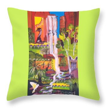 Throw Pillow featuring the painting Nature Windows by Lyn Olsen