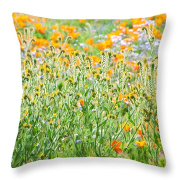 Nature's Artwork - California Wildflowers Throw Pillow