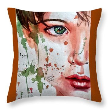 Throw Pillow featuring the painting Nature's Child  by Michal Madison