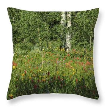Nature's Flower Garden Throw Pillow