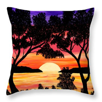 Nature's Gift - Ocean Sunset Throw Pillow