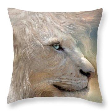 Nature's King Portrait Throw Pillow by Carol Cavalaris