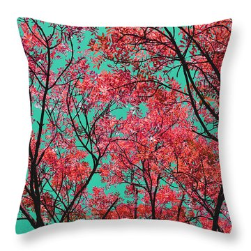 Natures Magic - Fire Red Throw Pillow by Rebecca Harman