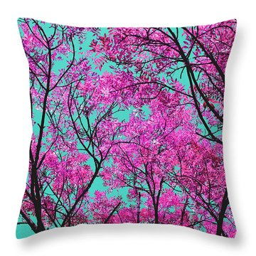 Natures Magic - Pink And Blue Throw Pillow by Rebecca Harman