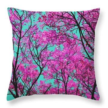 Natures Magic - Pink And Blue Throw Pillow