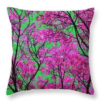 Natures Magic - Pink And Green Throw Pillow by Rebecca Harman