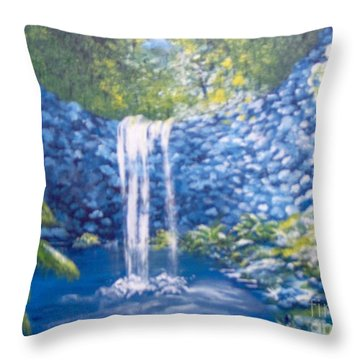 Throw Pillow featuring the painting Nature's Pool by Saundra Johnson