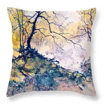 Throw Pillow featuring the painting Nature's Textures by Carolyn Rosenberger