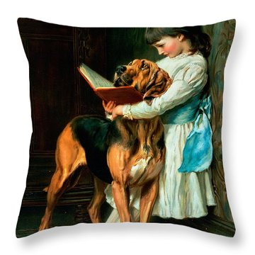 Naughty Boy Or Compulsory Education Throw Pillow by Briton Riviere