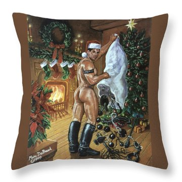 Naughty Santa Throw Pillow