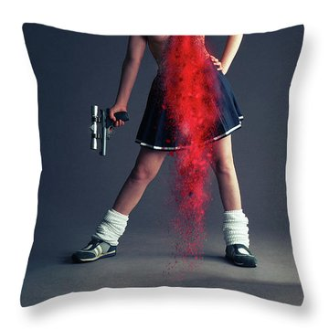 Naughty Schoolgirl Throw Pillow