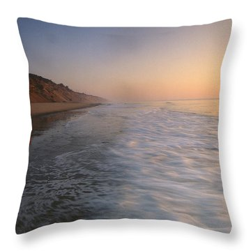 Nauset Light On The Shoreline Of Nauset Throw Pillow by Michael Melford
