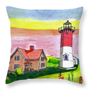 Nauset Point Lighthouse Throw Pillow