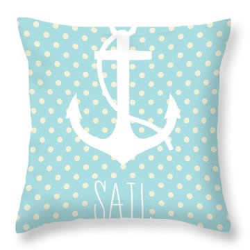 Nautical Anchor Art Print Throw Pillow by Taylan Apukovska