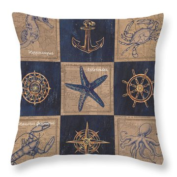 Nautical Burlap Throw Pillow by Debbie DeWitt